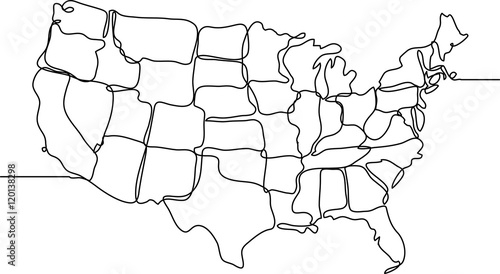 Line Drawing United States : Quot united states of america continuous line drawing stock