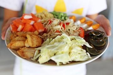 Papaya salad in tray, Thai food