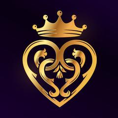 Golden Luckenbooth brooch vector design element. Vintage Scottish heart shape with crown and thistle symbol logo concept. Valentine day or wedding illustration on dark background