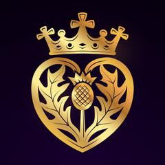Luckenbooth brooch vector design element. Vintage Scottish heart shape with crown symbol logo concept. Valentine day or wedding illustration on dark background