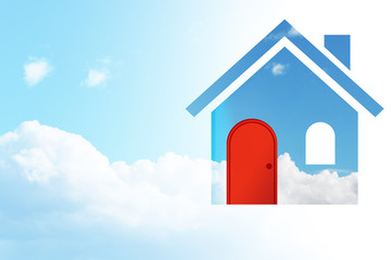 House Symbol with a Red Door in the Cloudy Blue Sky