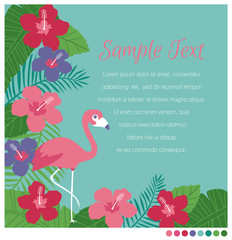 Tropical border vector with flamingo, hibiscus flowers and leaves