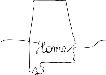 continuous line drawing of Alabama home sign