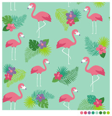Flamingos seamless vector pattern with hibiscus and leaves