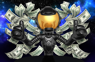 Astronaut Character With Money