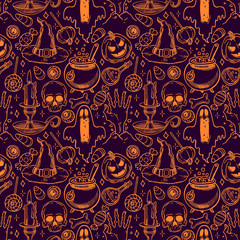 seamless sketch Halloween pattern - 2