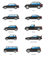 Different car types icons set