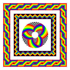 Vector frames in rainbow colors. the square frame in the Mexican style.