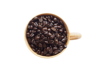 Top view of seed coffee in wooden cup