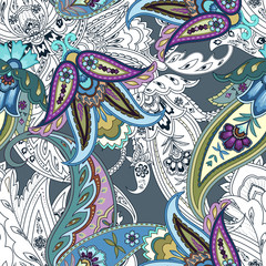 Colorful flowers seamless paisley pattern. Wrapping print. Floral print