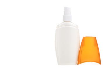 Bottle suntan cream isolated on white background