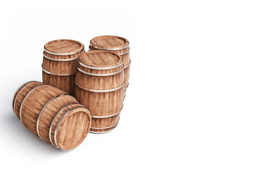 winemaking barrel on white background 3d illustration