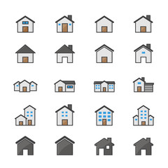 House and Home Set Of Building Color Icon Style Colorful Flat Icons