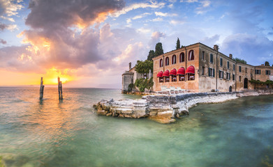 Beautiful sunset in villa Lake Garda