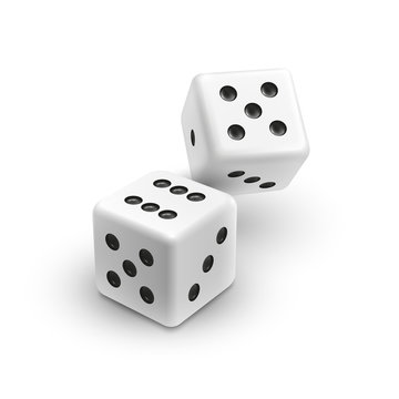 Two white dices