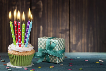 Cupcake with birthday candles