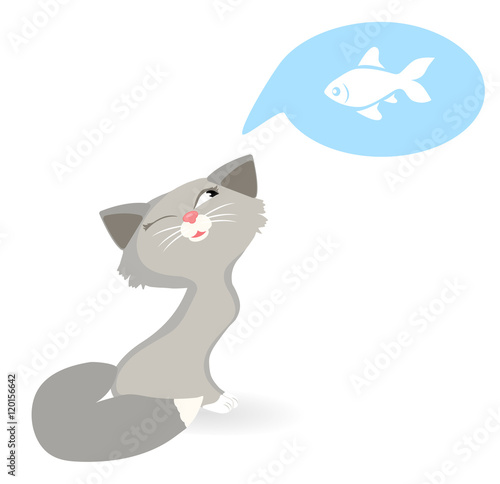 Cat dreams of fish cat wants to eat fish vector for Dreaming of eating fish