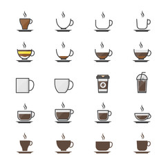 Coffee Cup Color Icons Set Of Drink Vector Illustration Style Colorful Flat Icon