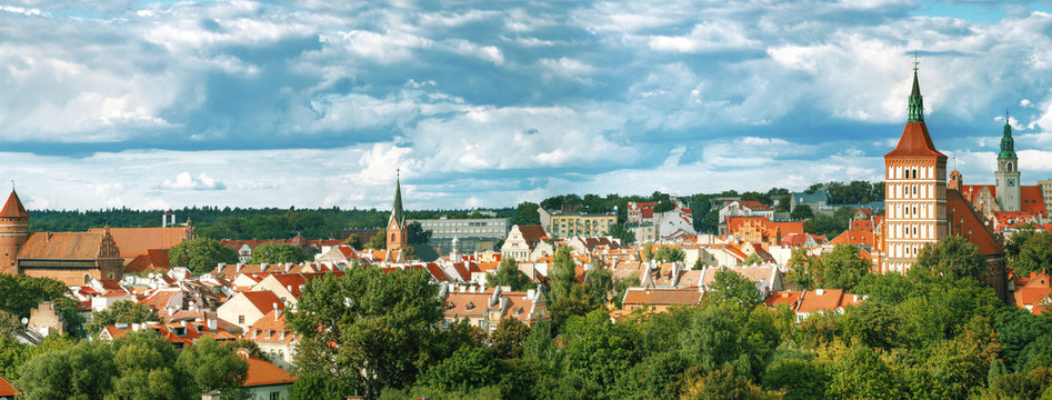 Top view of the town of Olsztyn