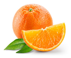 Orange fruit with slice and leaves isolated on white background.