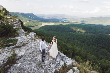 Wedding photo in the mountains