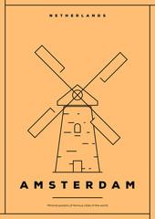 Minimal Amsterdam City Poster Design
