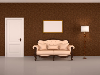 Brown interior with a door, a floor lamp and a blank picture ove