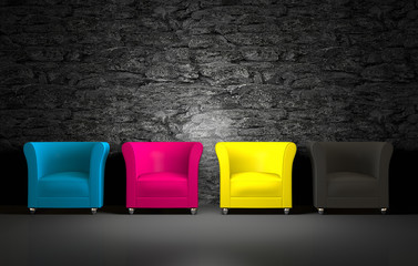 3D CMYK chairs and stone wall