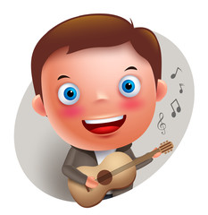 Young guitarist player vector character singing and holding guitar isolated in white background. Vector illustration.