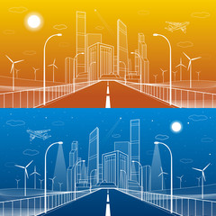 Highway. Road lighting lanterns. Business center, architecture and urban illustration, neon city, white lines composition, infrastructure, skyscrapers and towers, day and night, vector design art