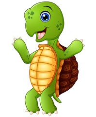 Cute cartoon turtle standing