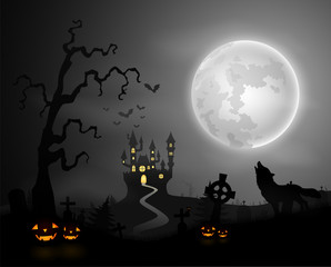 Halloween night background with wolf howling, pumpkins, castle and full moon