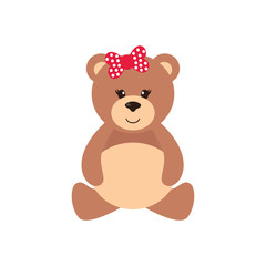 cartoon bear girl sitting