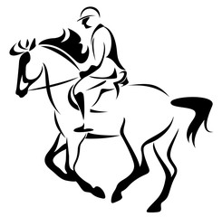 equestrian emblem - horse riding vector illustration