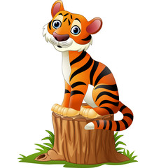 Cartoon tiger sitting on tree stump