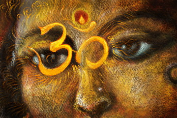 closeup detail of hindu woman eyes with sacred symbol, illustration