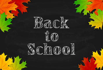 School theme with black chalkboard and maple leaves