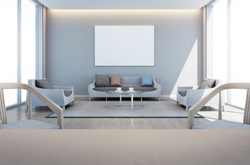 living and dining room in modern house with art frame - 3D rendering