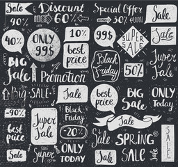 Vector set of hand drawn doodle sale lettering, typography, frames, bubbles.