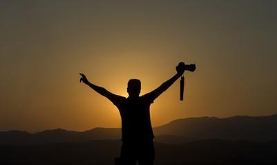 photographer sunset nature landscape sunrise silhouette camera mountian horizon life freedom