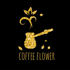 Сoffee pot. Golden sign on a black background. Vector image of a corporate logo and coffee shops.