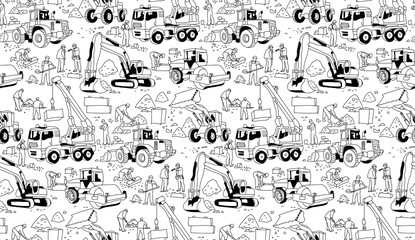 Building construction workers landscape black seamless pattern.