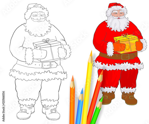 hand drawing for coloring book santa claus page linear outline and sample with colored
