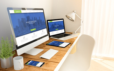 Wall Mural - fresh and modern responsive design concept on devices