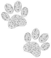animal paw print on white background.
