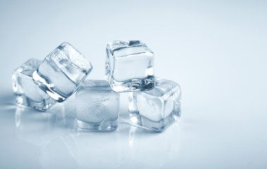 Five ice cubes blue toning photo studio shot
