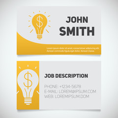 Business card print template with light bulb and dollar logo