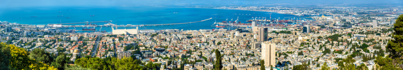 Fotobehang Antwerpen Panorama of Haifa from Mount Carmel