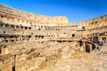 Interior of huge Colosseum, Italy