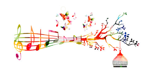 Creative music style template vector illustration, colorful  music staff with notes background. Inspirational notation design for posters, cards,brochures, banners, concert, music festival, music shop